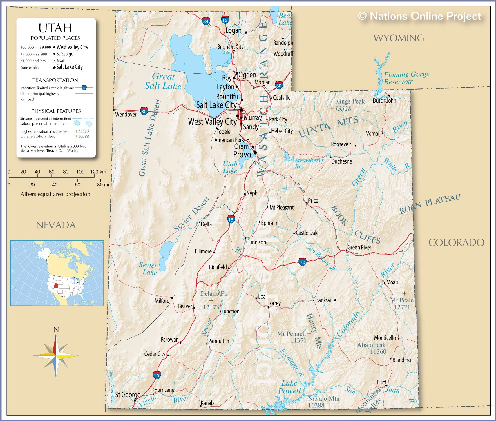 reference map of utah usa  nations online project - reference map of utah