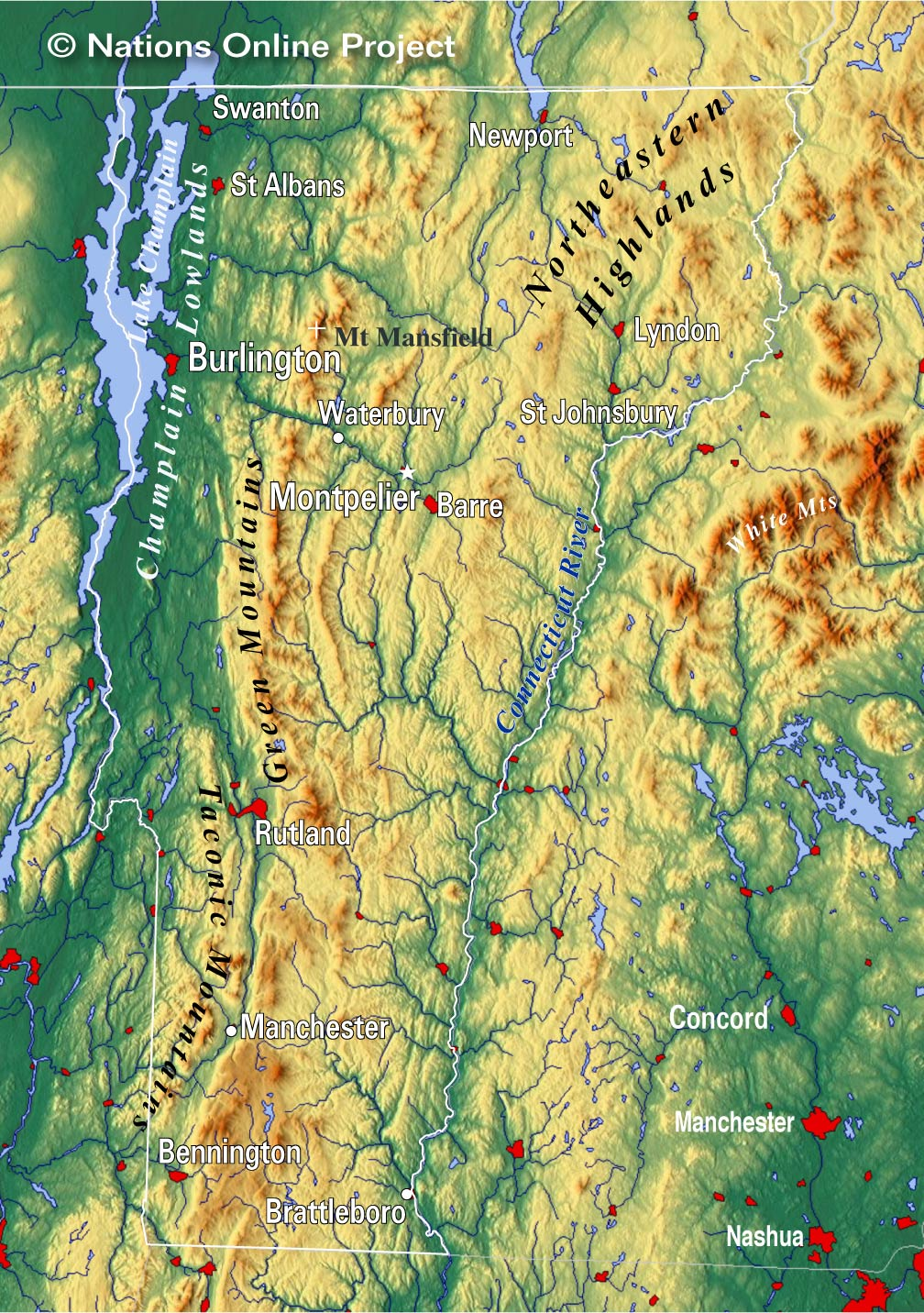 Vermont Topographic Regions Map