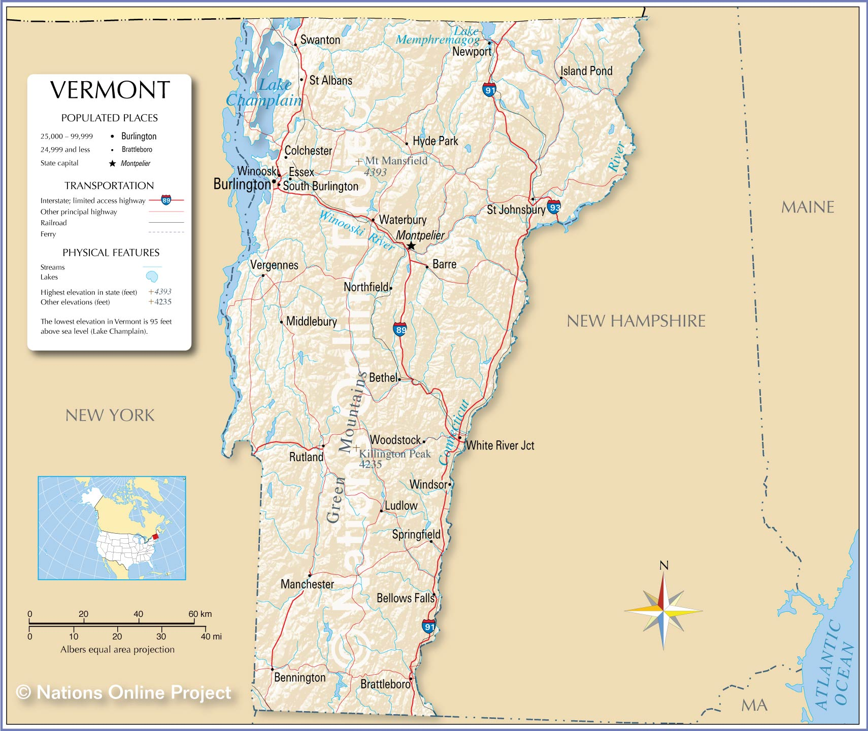 Reference Map Of Vermont USA Nations Online Project - Us map of lakes