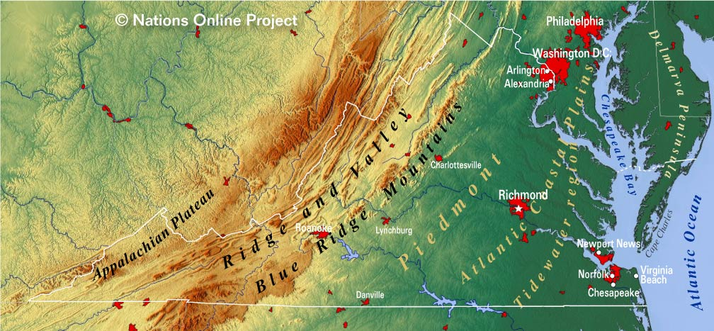 Virginia Topographic Regions Map