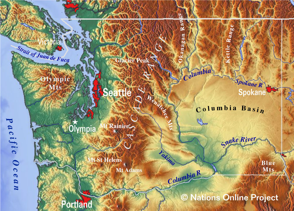 Topographic Map Of Us States.Reference Maps Of State Of Washington Usa Nations Online Project