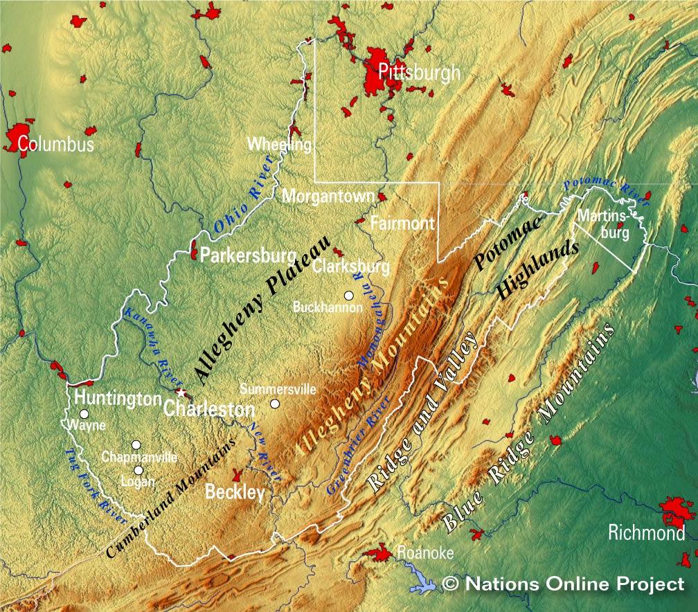 Map West Virginia, West Virginia Topographic Regions Map, Map West Virginia