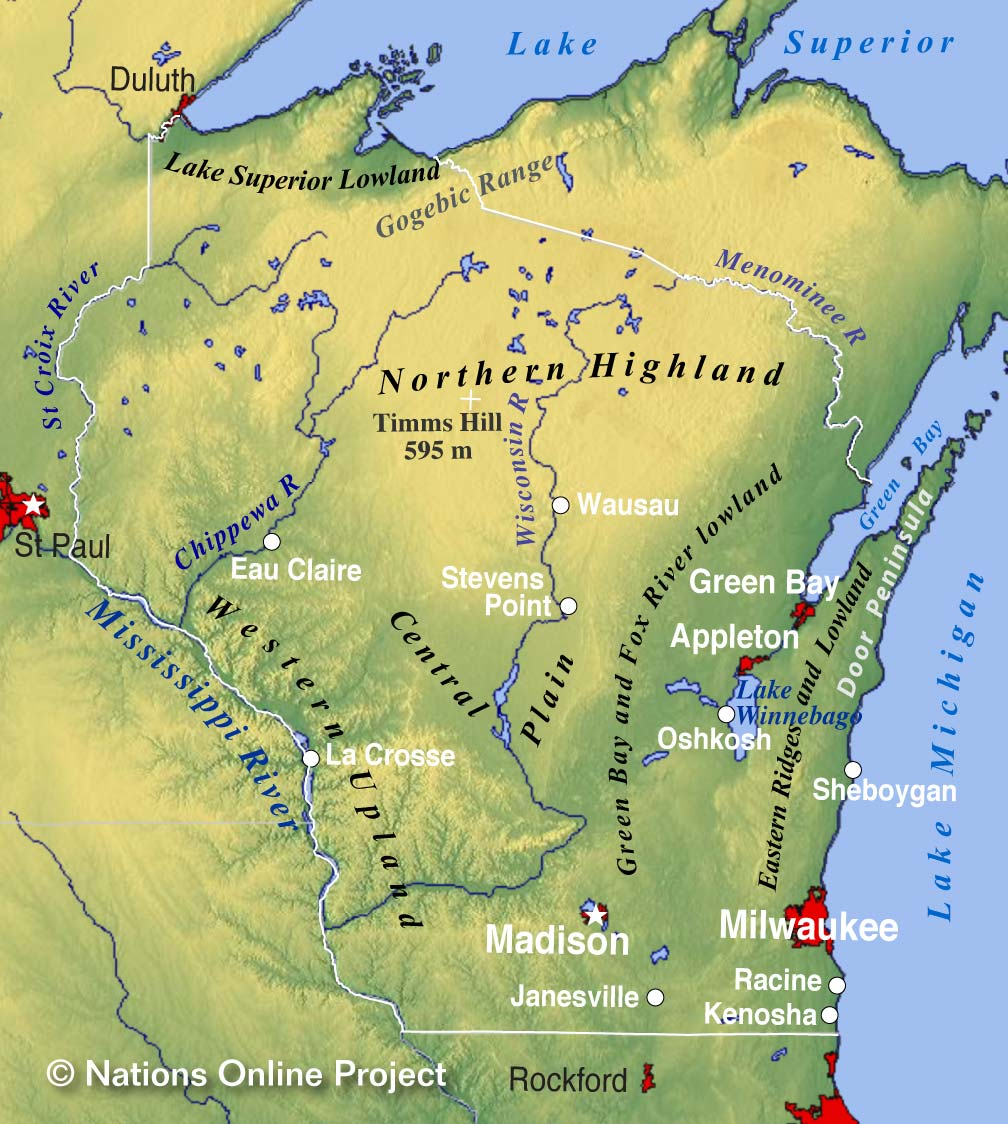 Reference Map of Wisconsin USA Nations Online Project