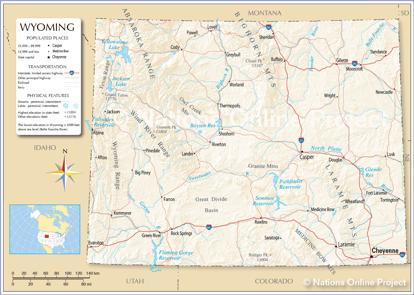 Map Of Wyoming Cities Reference Maps of Wyoming, USA   Nations Online Project
