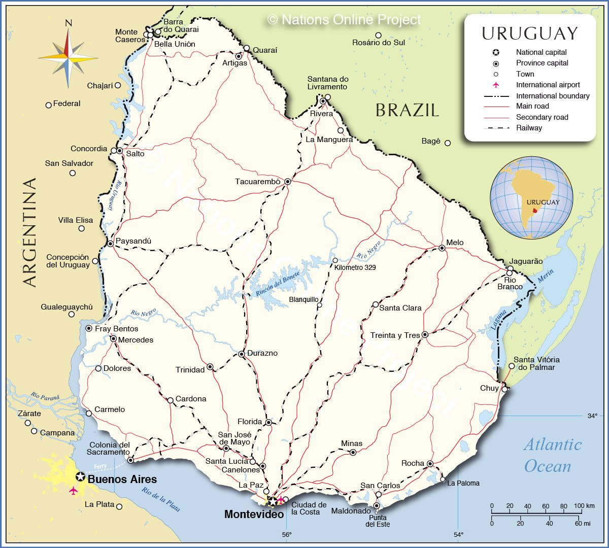 Detailed Map of Uruguay - Nations Online Project