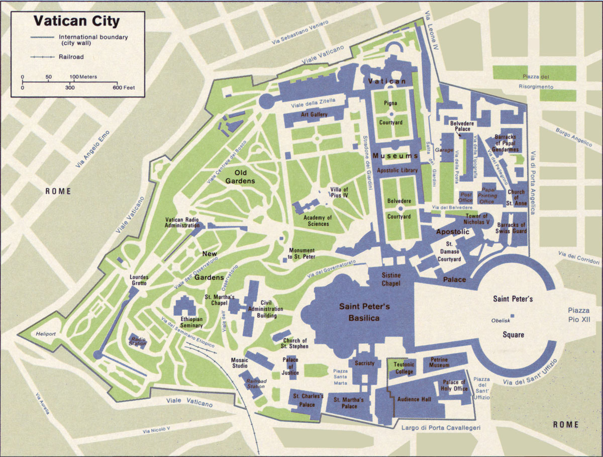 Map Of Vatican City Map of Vatican City State within the City of Rome   Nations Online