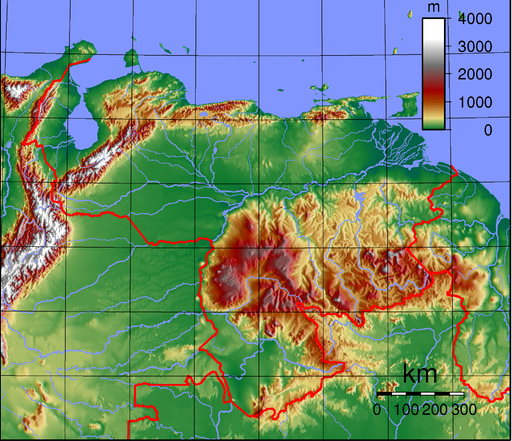 Detailed map of venezuela nations online project venezuela relief map publicscrutiny Choice Image