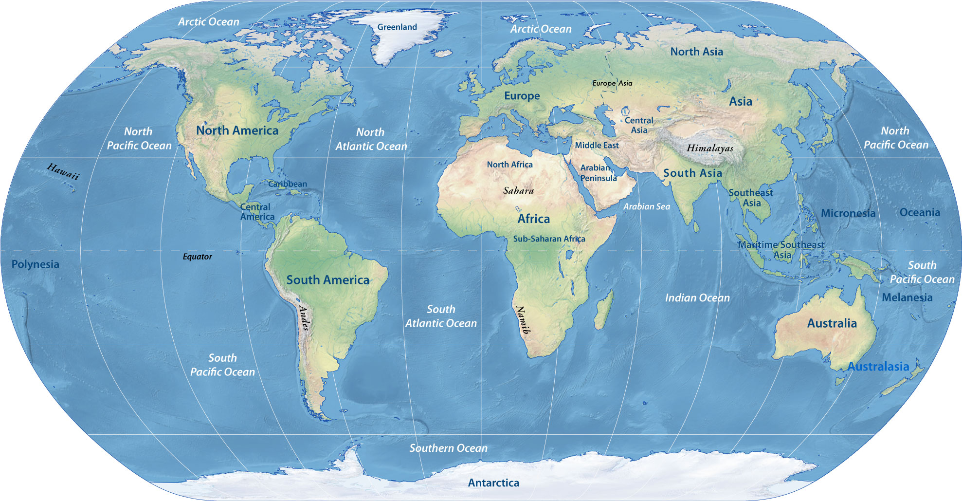 Picture of: Physical Map Of The World Continents Nations Online Project