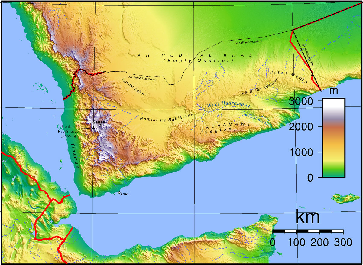 Topographic Map of Yemen - Nations Online Project on