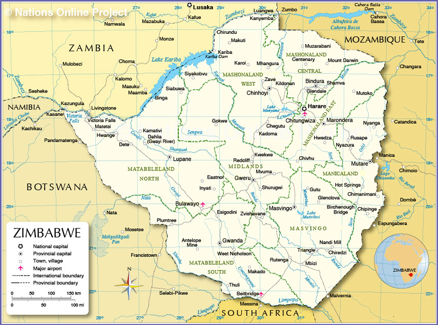 Map Of Zimbabwe Political Map of Zimbabwe   Nations Online Project Map Of Zimbabwe