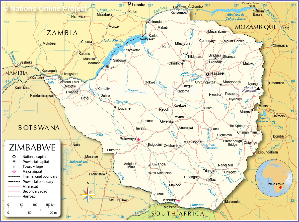 Administrative Map of Zimbabwe Nations Online Project