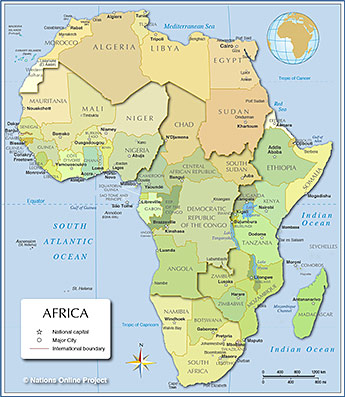 Africa Map With Capitals Capital Cities of Africa   Nations Online Project