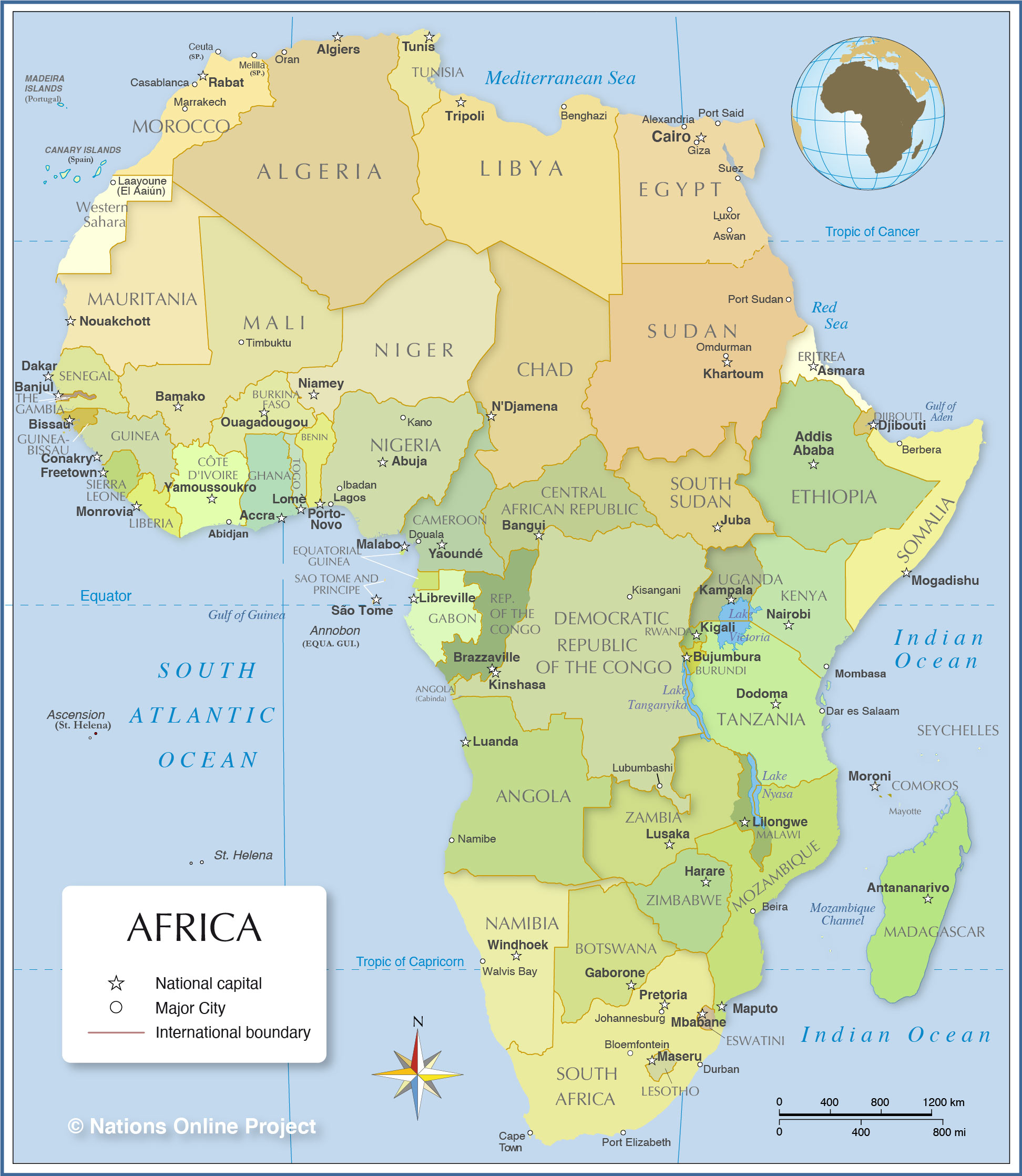 africa map and the capitals