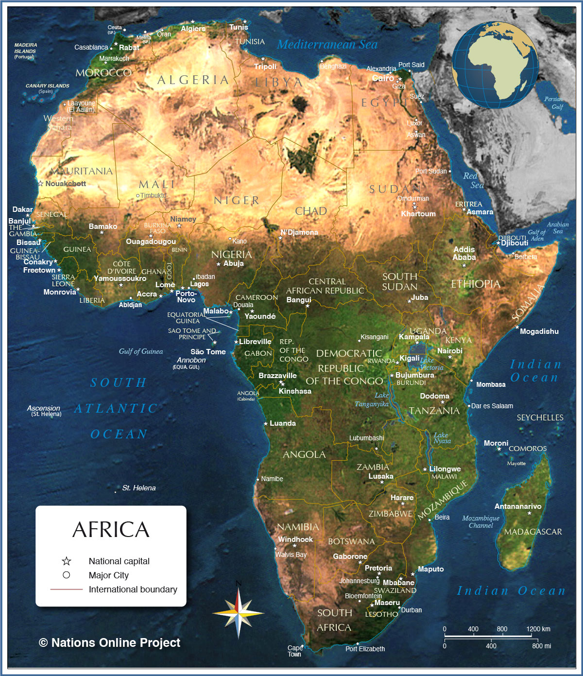 map of africa  countries of africa  nations online project - political map of africa with capitals and major cities