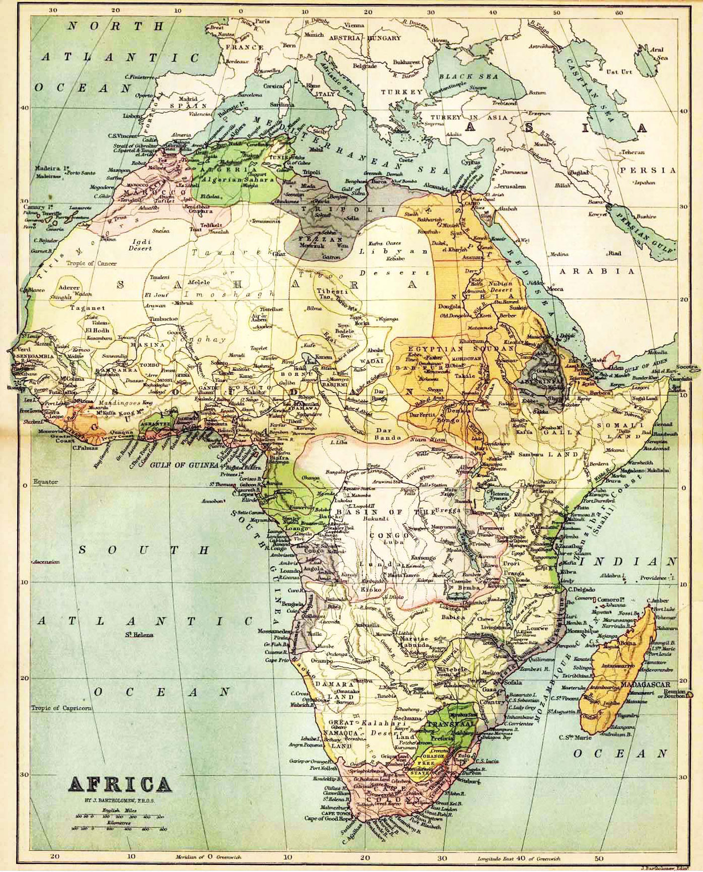 Historical Map of Africa in 1885 - Nations Online Project