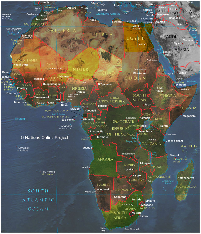 Small africa map relief map of africa publicscrutiny Image collections