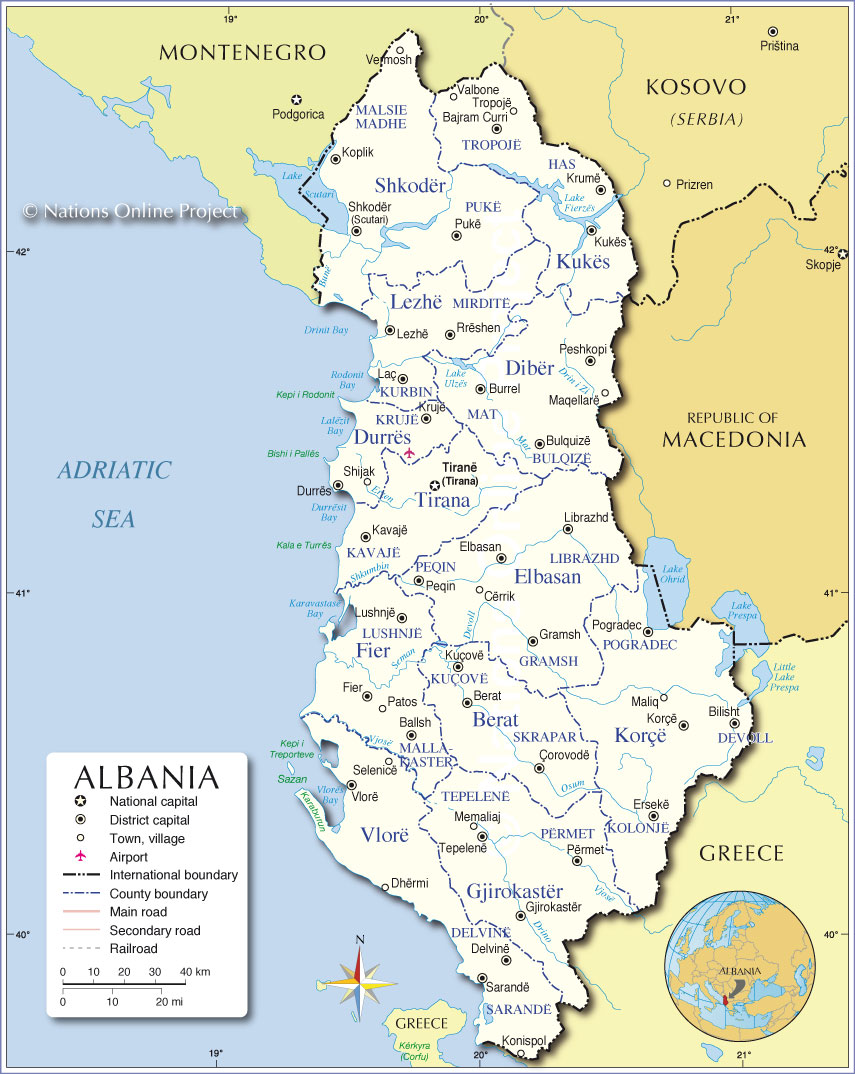 Administrative Map of Albania Nations Online Project