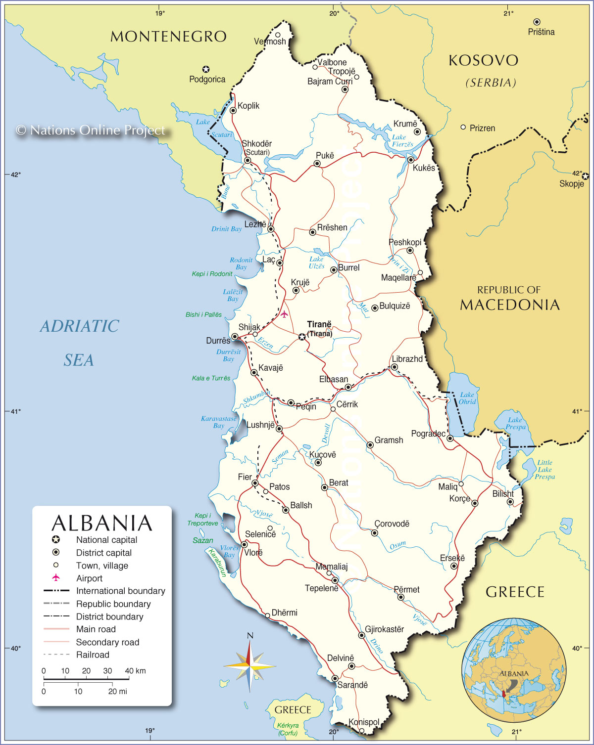 Political Map Of Albania Nations Online Project - Political map of italy