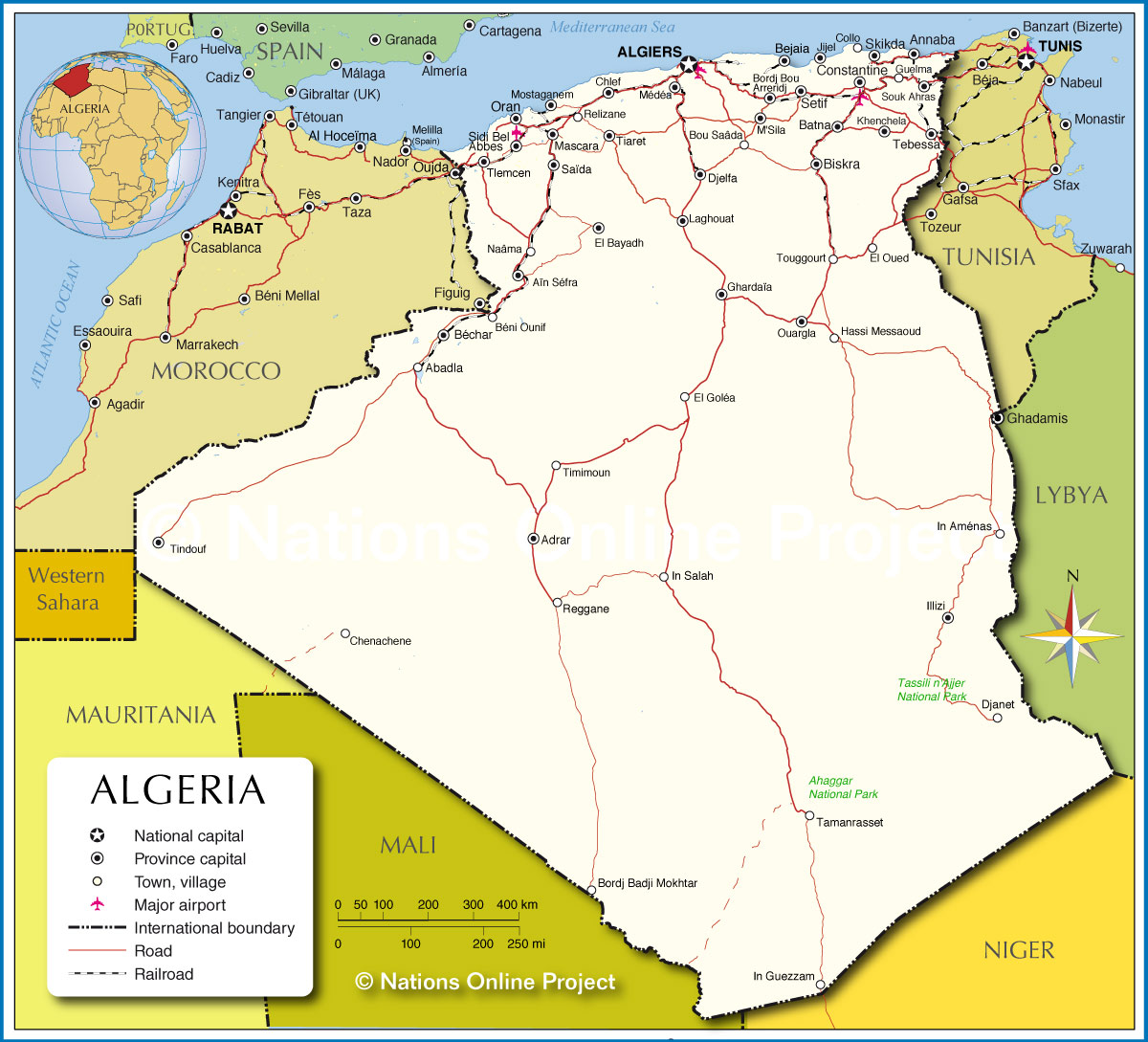 political map of algeria  nations online project - general map of algeria