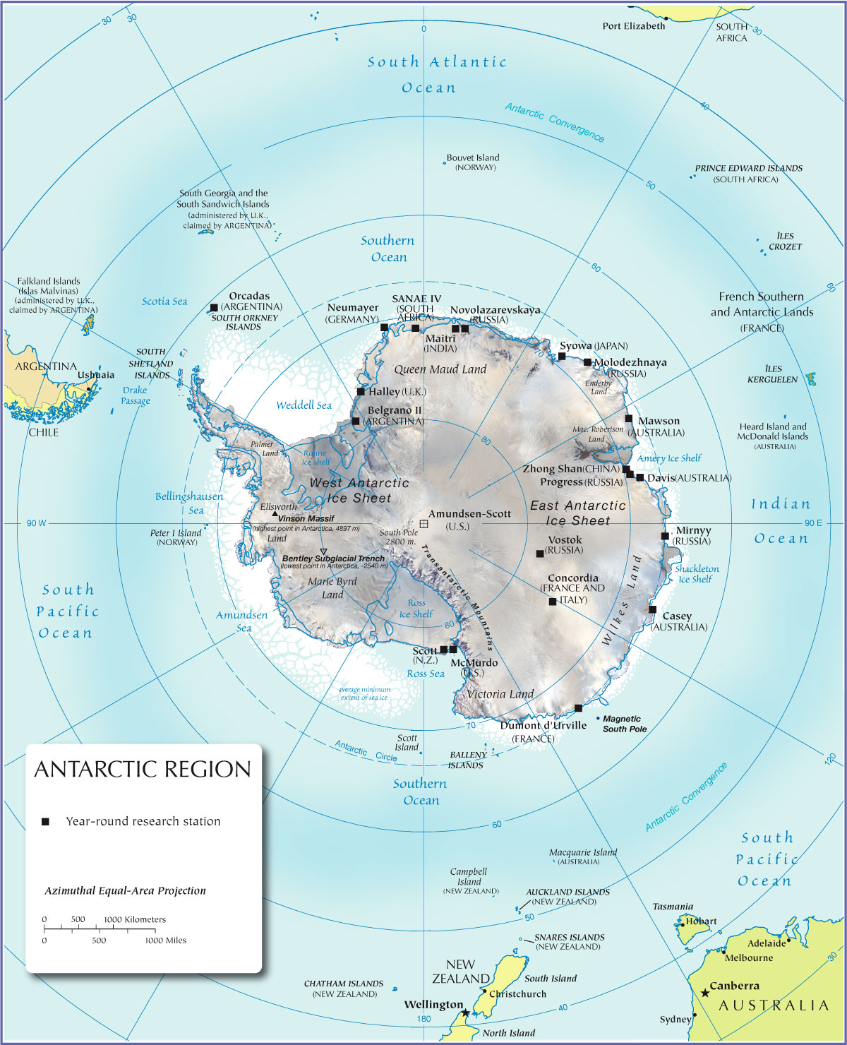 Physical Map of Antarctica Nations Online Project