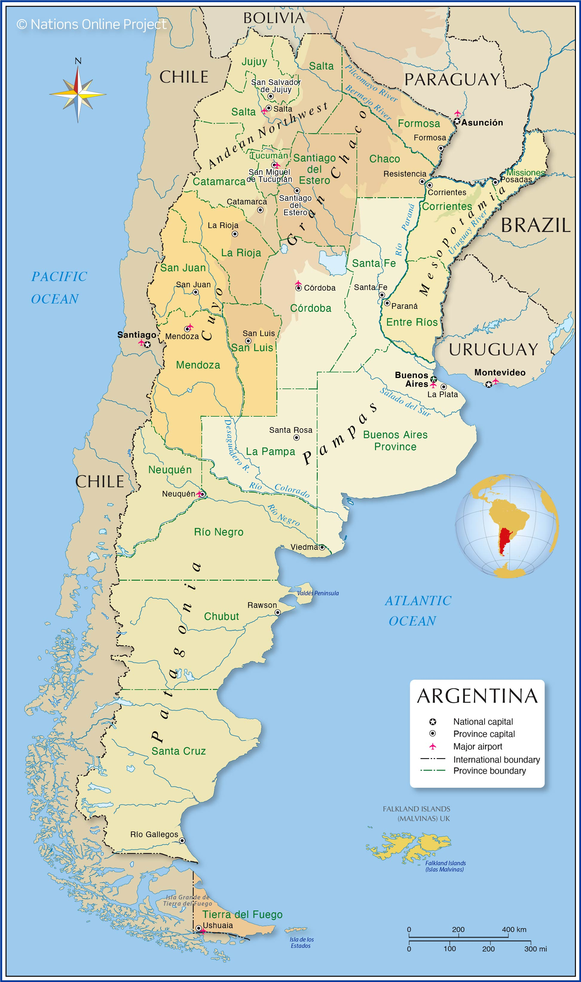 Administrative Map Of Argentina Nations Online Project - Argentina map provinces