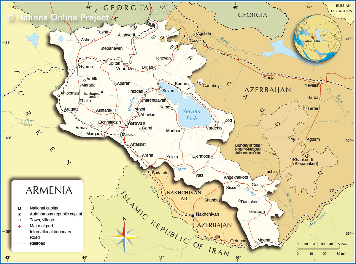 Political Map Of Armenia Nations Online Project - Armenia physical map