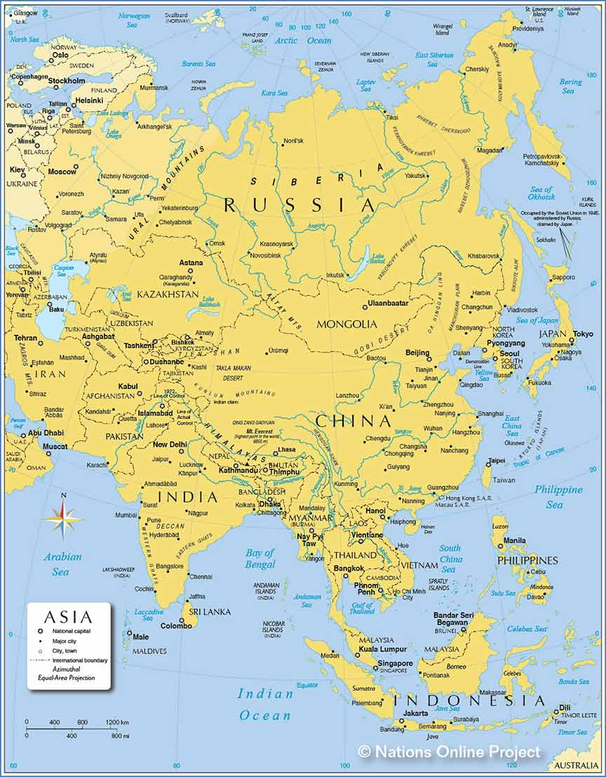 Map Of Asia With Countries And Capitals Capital Cities of Asia   Nations Online Project