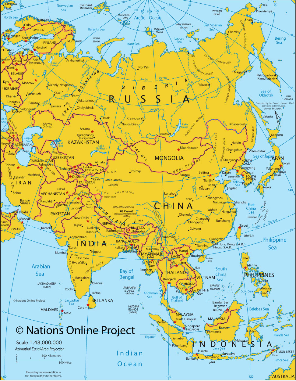Map of asia political map of asia nations online project