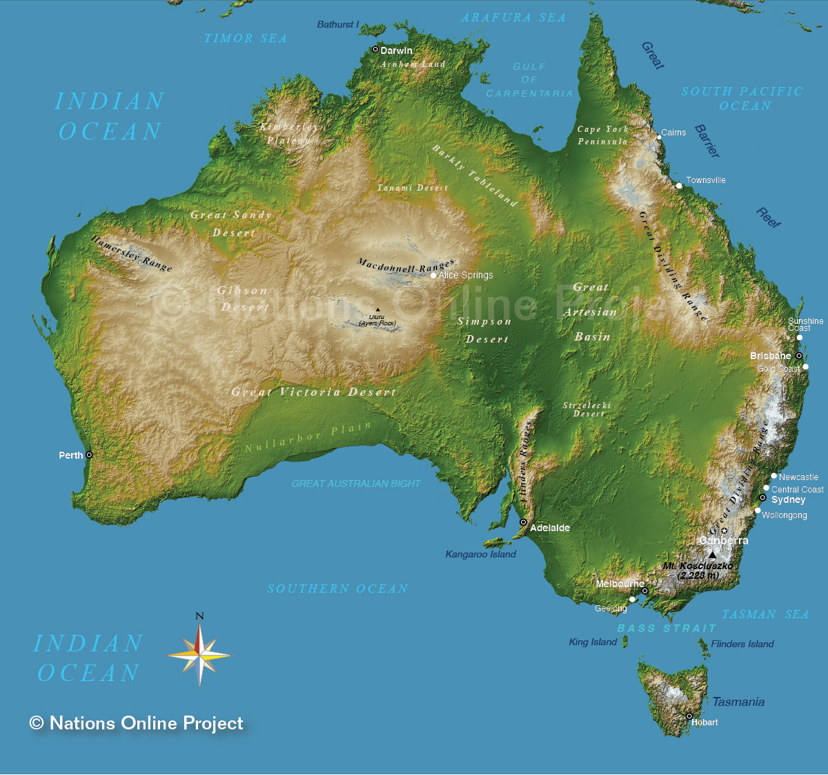 Topographic Map of Australia - Nations Online Project on mckinley mountain, elbrus mountain, shishapangma mountain, everest mountain, hamilton mountain, aconcagua mountain,