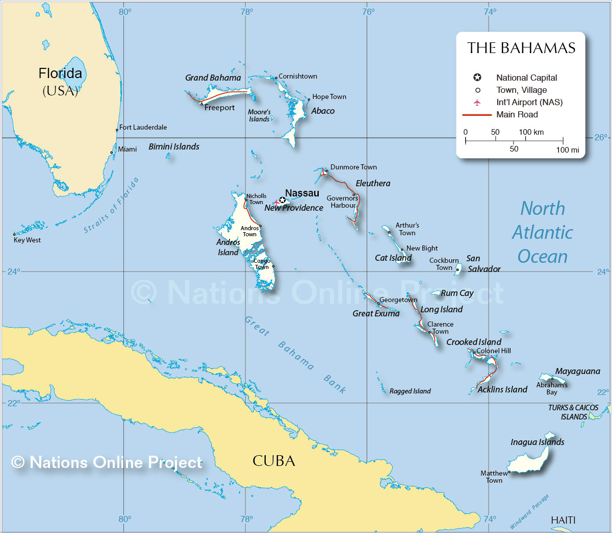 Map Of Florida And Bahamas Map of The Bahamas   Nations Online Project