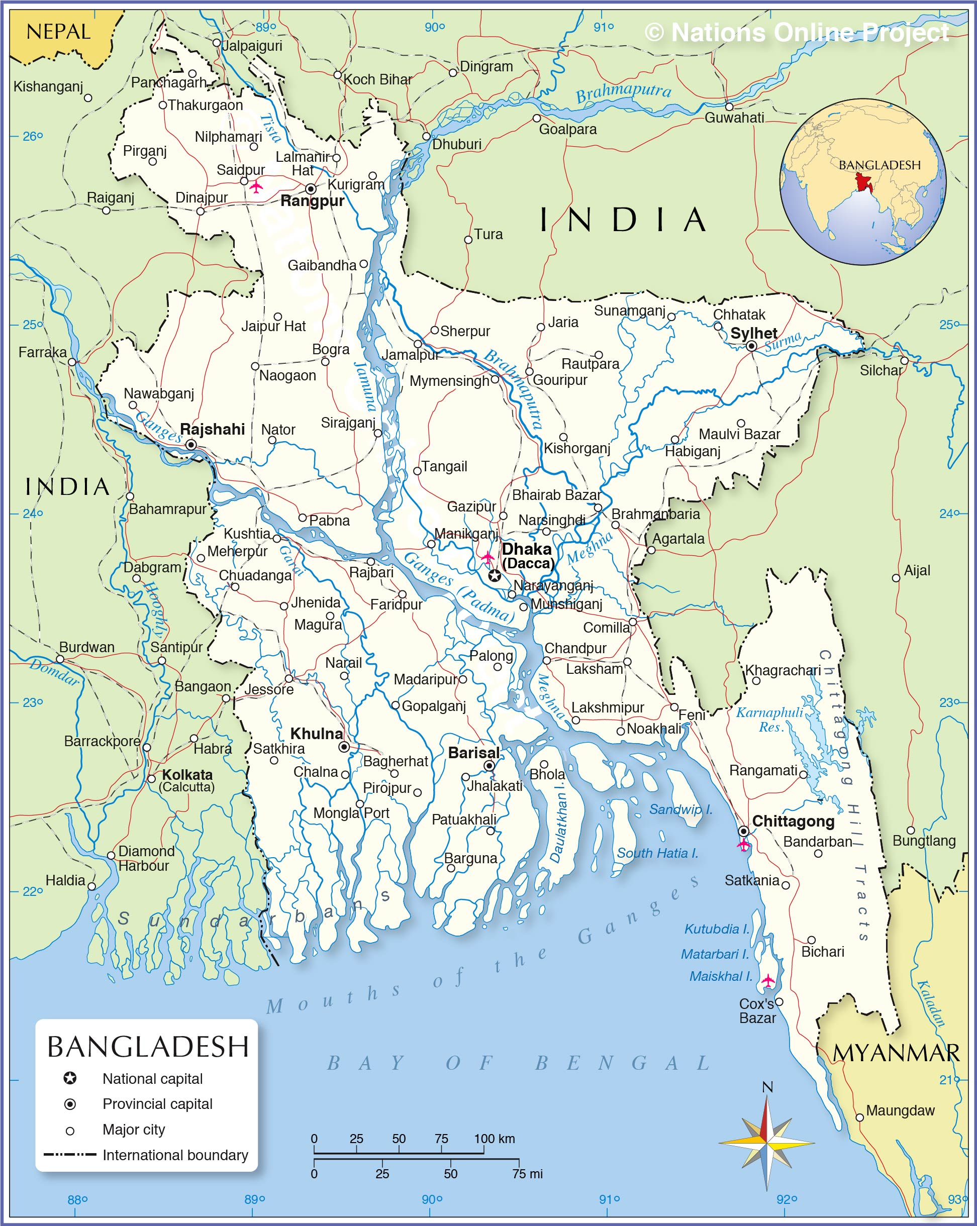 Political map of bangladesh nations online project political map of bangladesh gumiabroncs Gallery