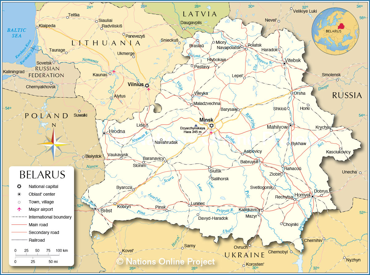 Political Map of Belarus  Nations Online Project