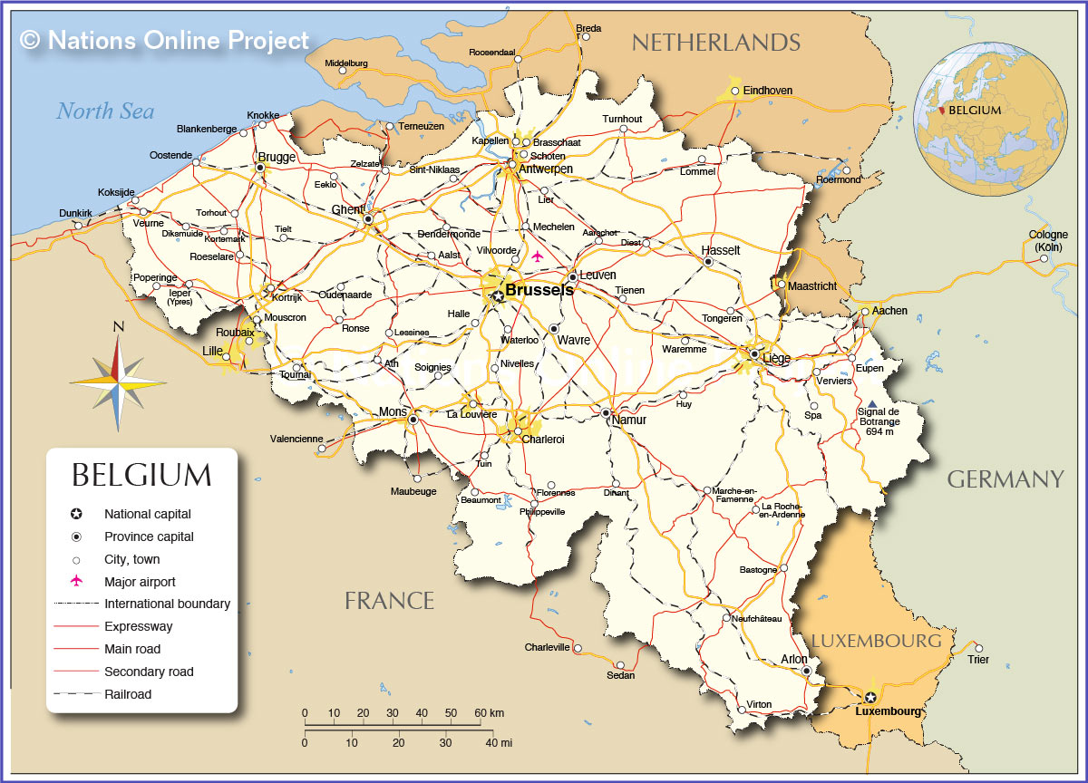 Political Map Of Belgium Nations Online Project - Brussels location on world map