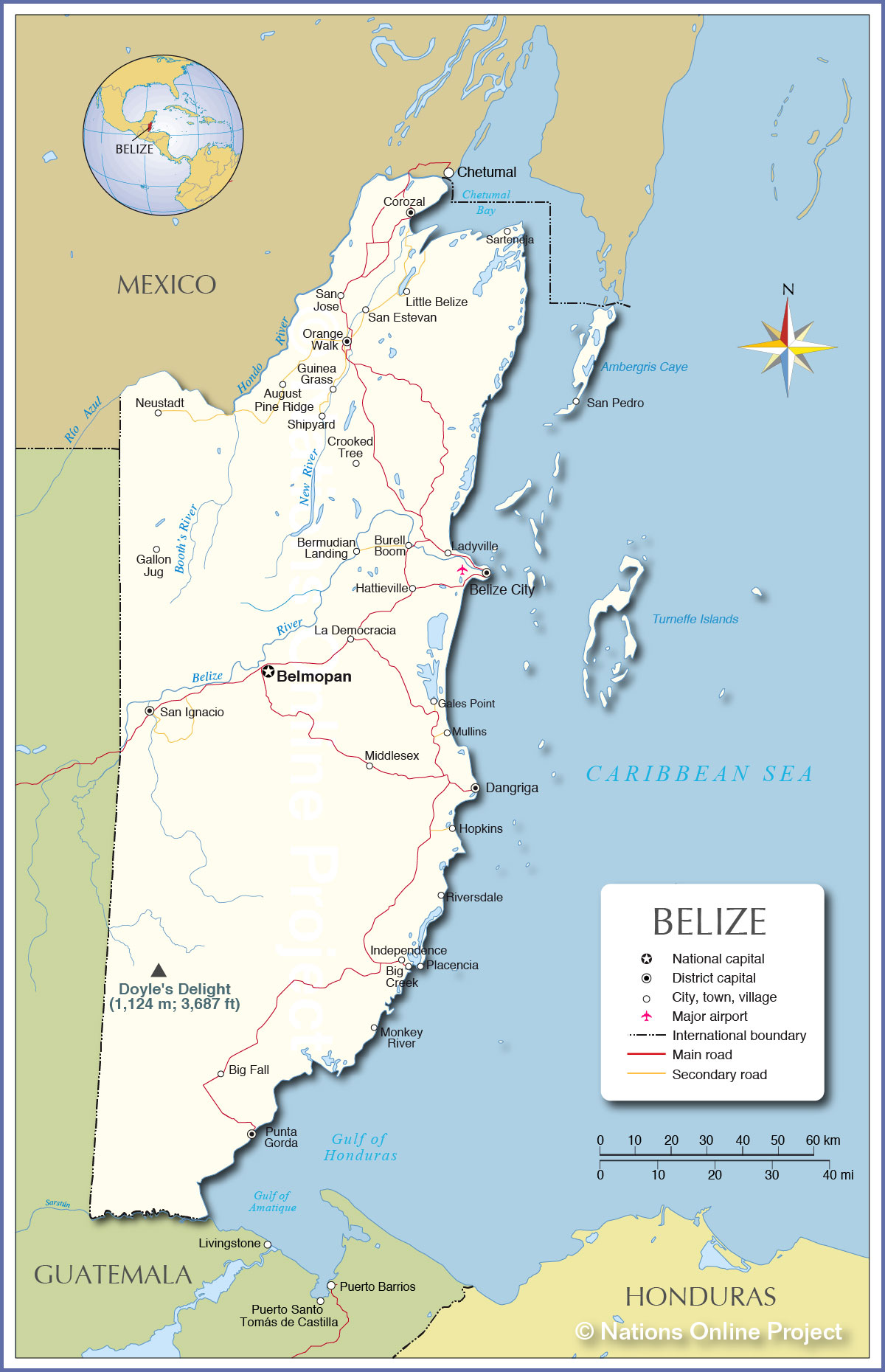 Belize Political Map.Political Map Of Belize Nations Online Project
