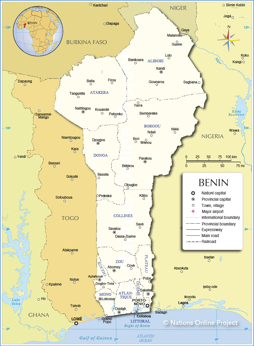 Nations Online: Administrative Map of Benin - Nations Online Project