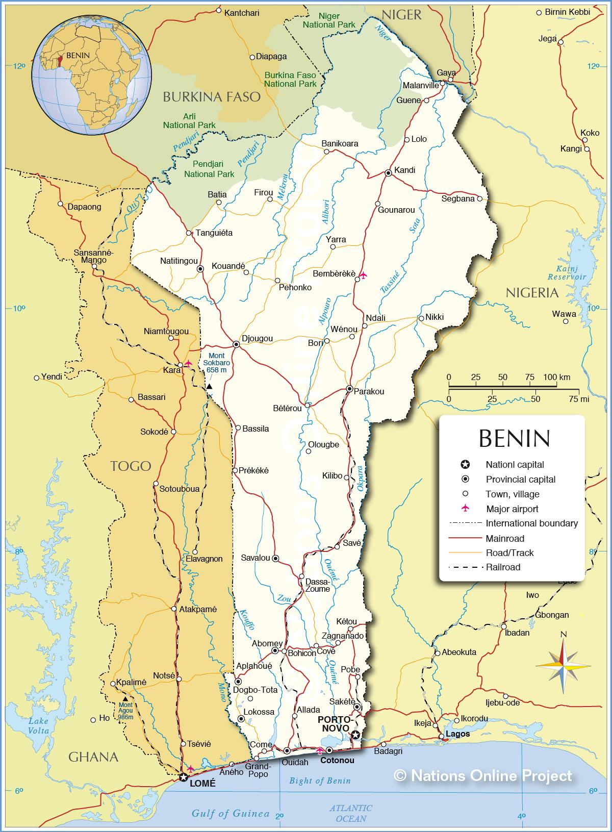 Nations Online: Political Map of Benin 1200 pixel - Nations Online ...