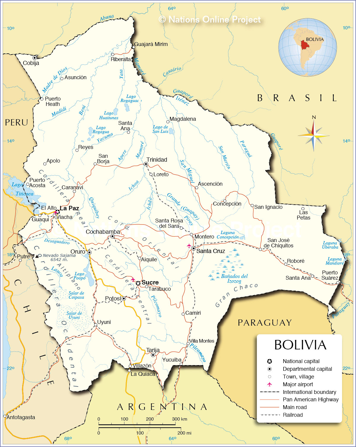 Political Map of Bolivia - Nations Online Project