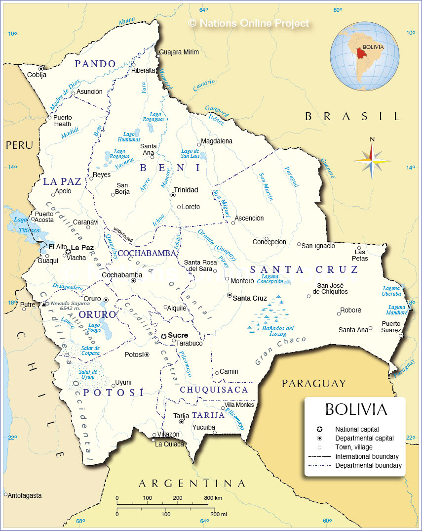 Administrative Map of Bolivia Nations Online Project