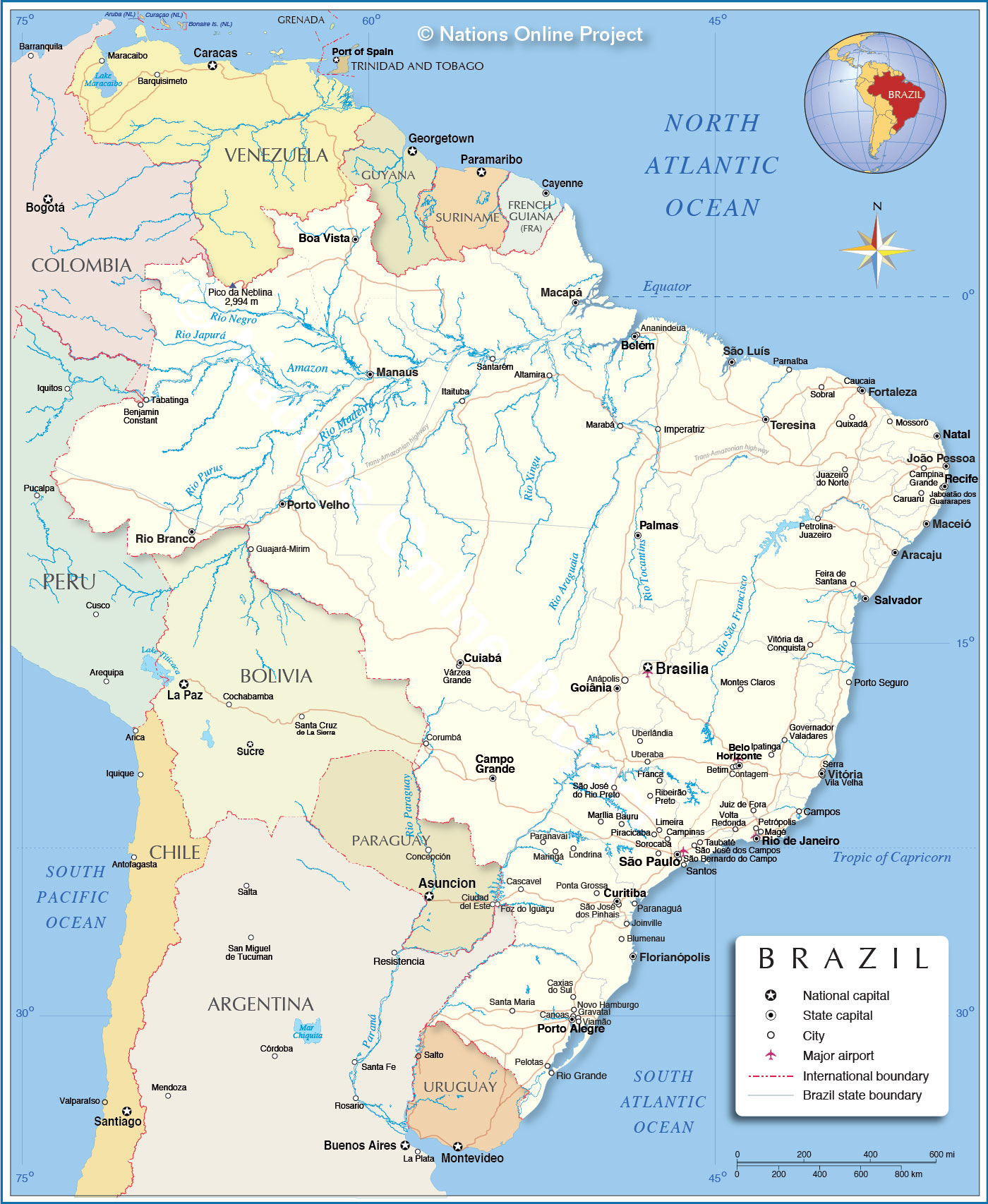 Detailed Map Of Brazil Nations Online Project - Brazil political map