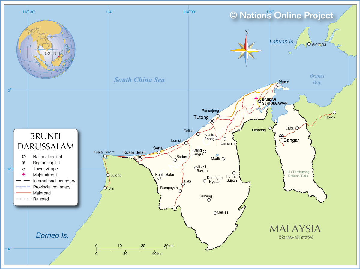 Political Map of Brunei   Nations Online Project