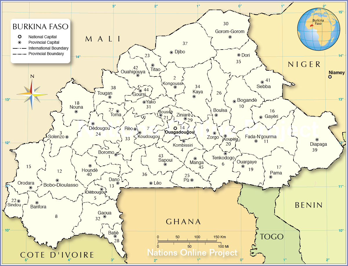 Administrative Map of Burkina Faso - Nations Online Project