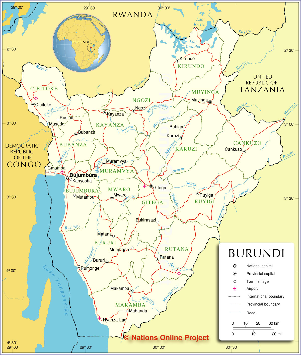 Map Of Burundi Administrative Map of Burundi   Nations Online Project Map Of Burundi