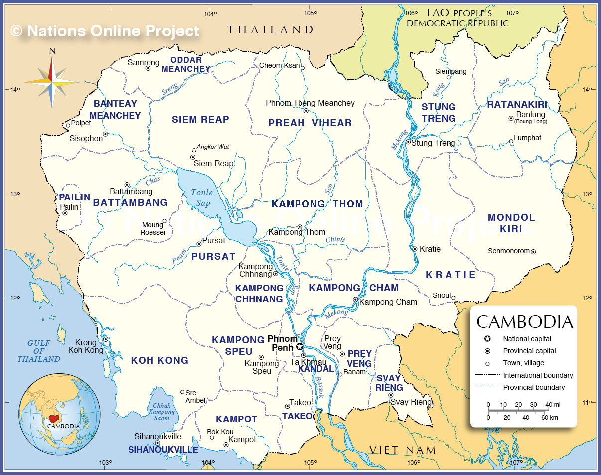 Administrative Map Of Cambodia Nations Online Project - Cambodia map