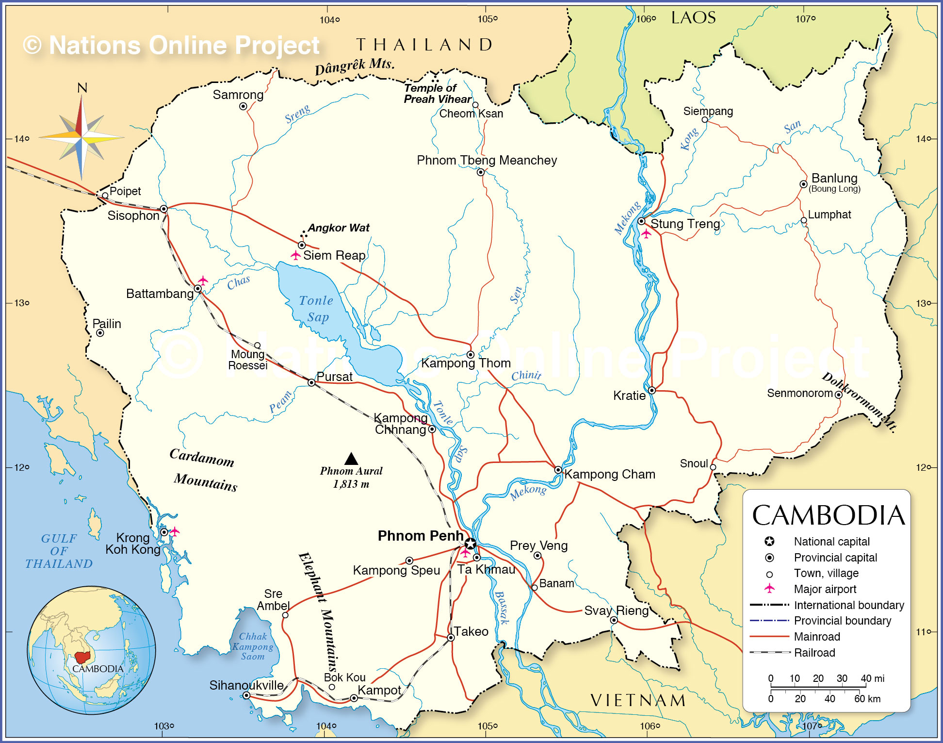 Political Map Of Cambodia Nations Online Project - Cambodia map
