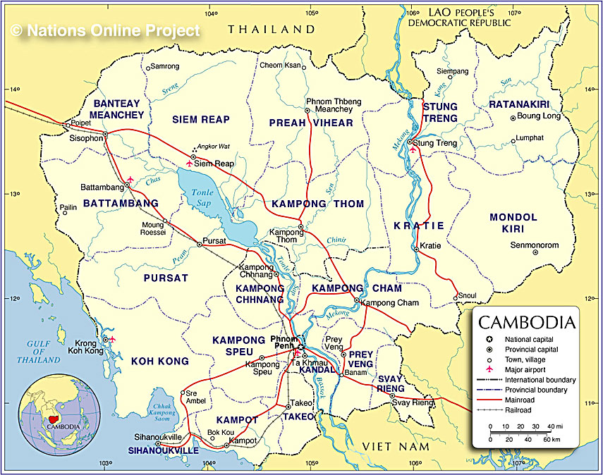 Small Map of Cambodia - Nations Online Project