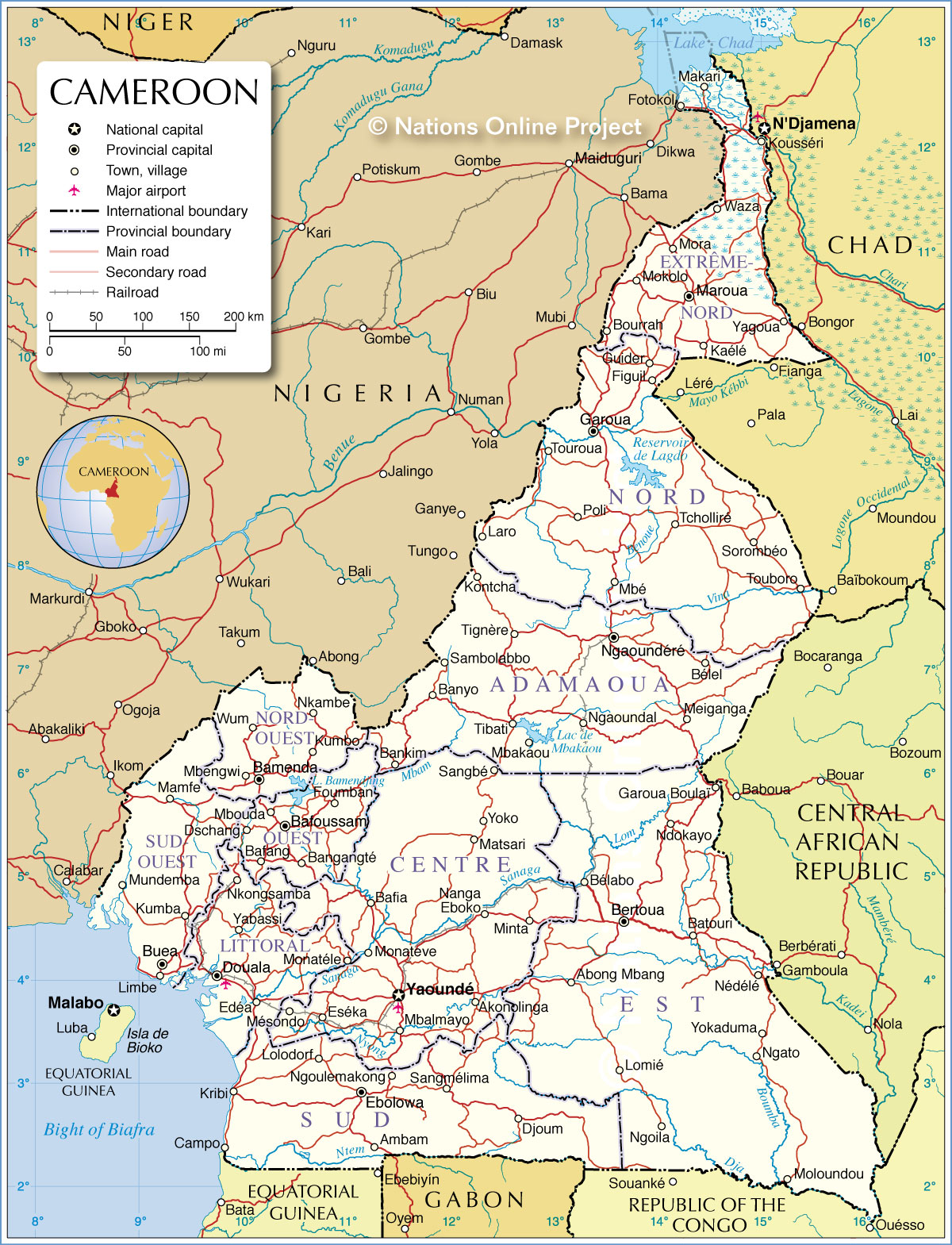 Administrative Map of Cameroon 1200 pixel Nations Online Project