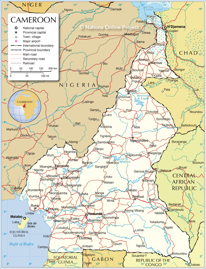 Map Of Africa Cameroon.Political Map Of Cameroon Nations Online Project