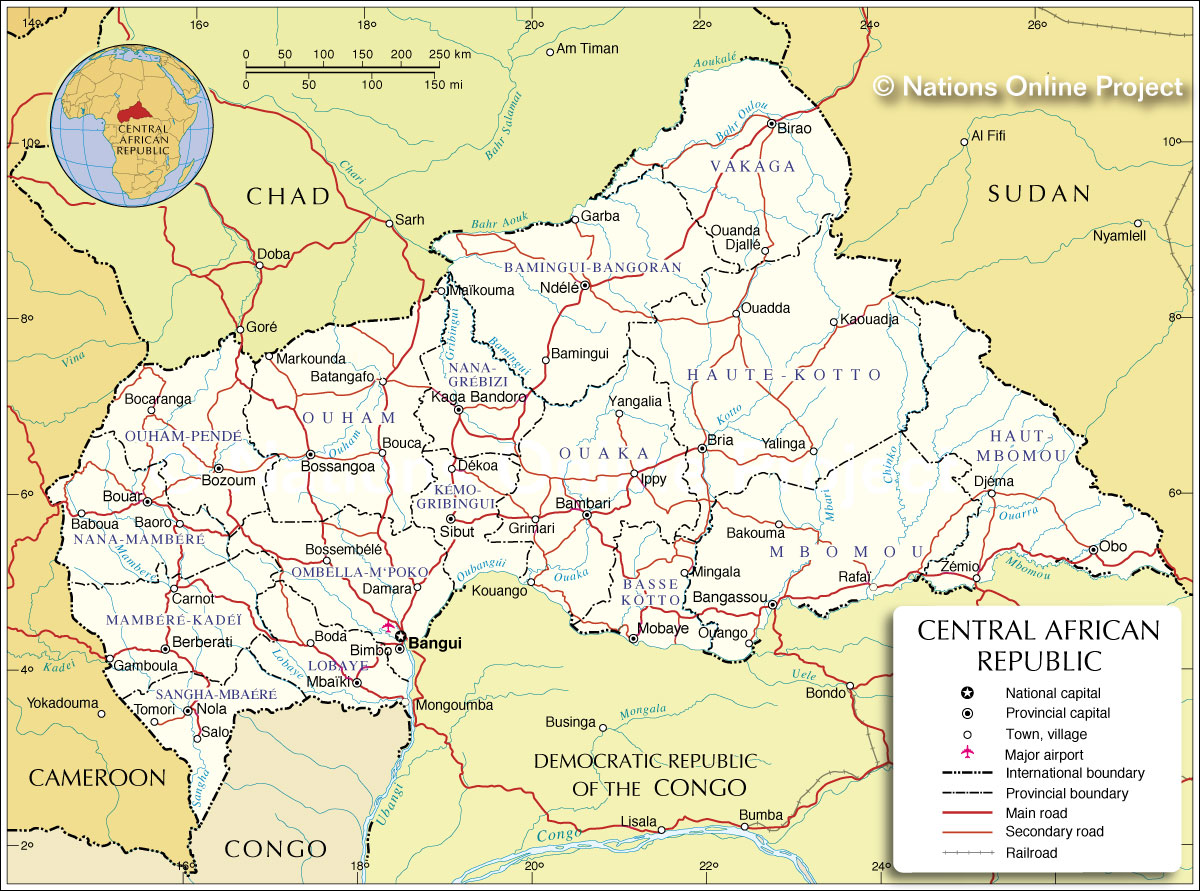 Administrative Map of Central African Republic 1200 pixel Nations