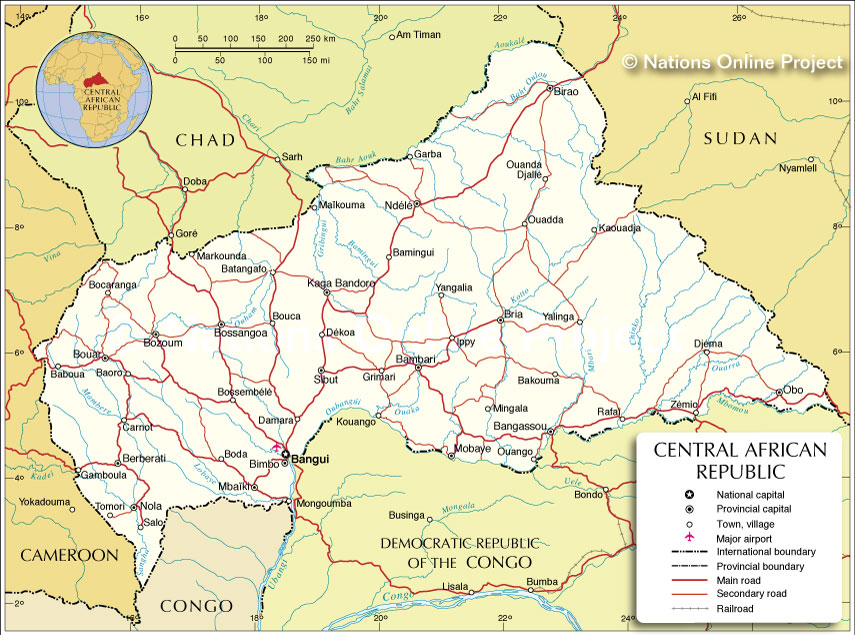 Political Map of Central African Republic - Nations Online Project