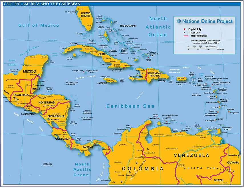 Labeled Map of Central America And The Caribbean Map of Central America And The
